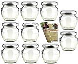gouveo 40er Set Leere Einmachgläser Henkelglas 106 ml incl. Drehverschluss Silber, Vorratsgläser,...
