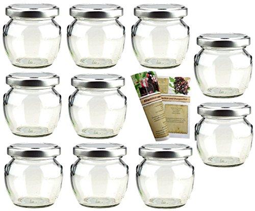gouveo 10er Set Leere Einmachgläser Henkelglas 106 ml incl. Drehverschluss Silber, Vorratsgläser, Marmeladengläser, Einkochgläser