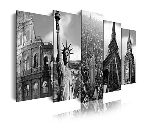 Dekoarte 106 - Cuadro moderno lienzo 5 piezas, monumentos