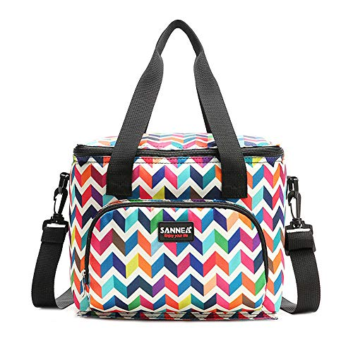 MRULIC Multi Coloured Striped Portable Backpack Picnic Cool Bag Multifunctional Storage Bag for Food Picnic Party Outdoor