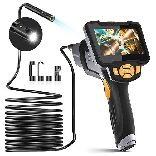 EZGETOP Inspektionskamera 1080P HD Zwei Linsen Endoskopkamera IP67 Wasserdichte Hand Endoskop Kamera Kabel Schlangenkabelkamera 8 mm Inspektionskamera mit 6 LED-Licht (5M/16,4ft) (Schwarz)
