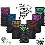 RMENOOR 7 Stück Multifunktionstuch Halloween Halstuch Schlauchtuch Unisex Totenkopf Halstuch Maske Skull Maske mit Ghost Muster Schlauch Maske für Motorrad Fahrrad Ski Paintball Gamer Karneval Kostüm