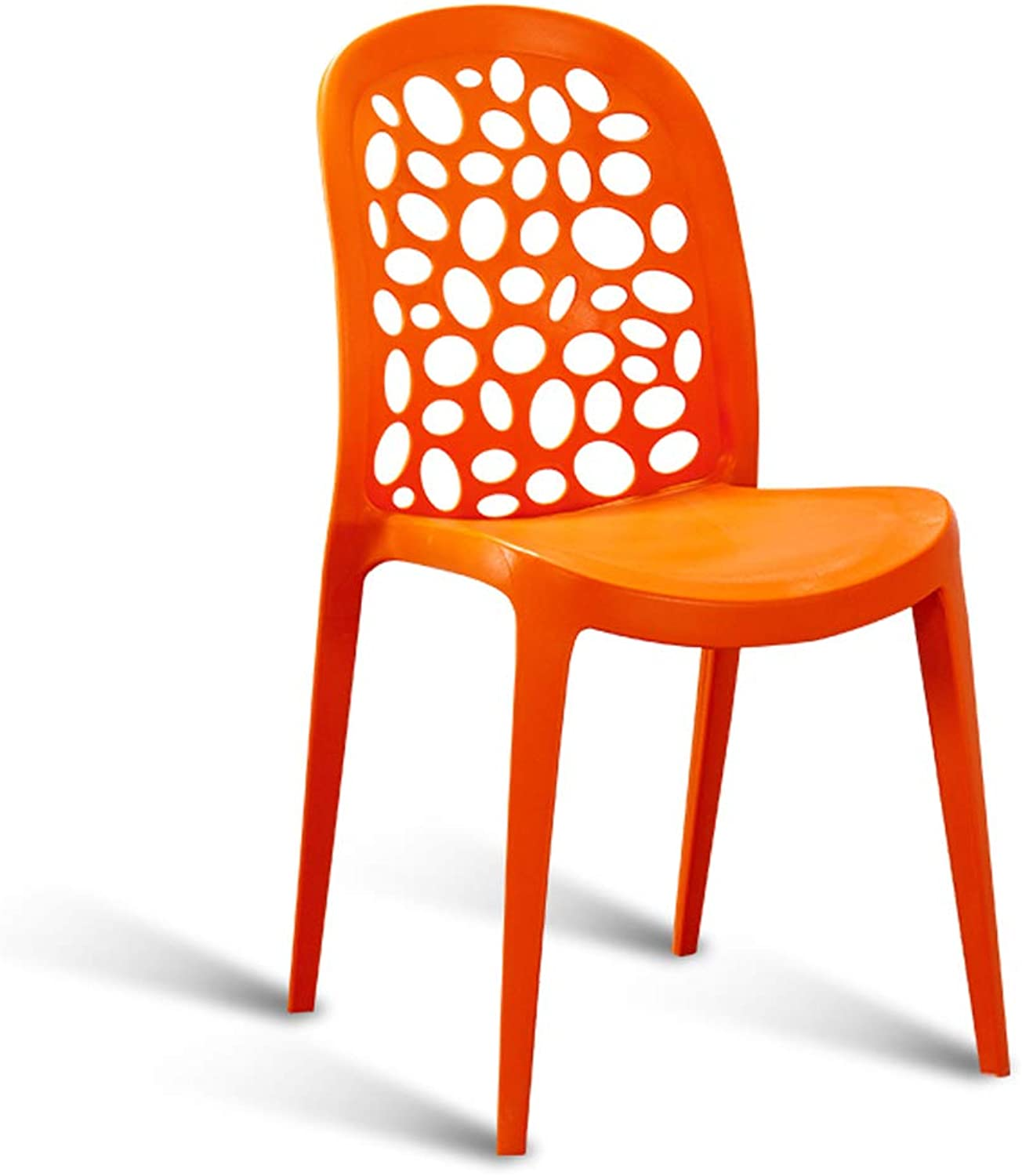 LRW Fashionable Plastic Household Chair, Creative Simple Back Computer Chair, Modern Personality Stool, Leisure Dining Chair, orange