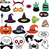 Jetec 23 Pieces Halloween Decor Attached to The Stick Halloween Photo Booth Props, DIY Photo Booth for Halloween Party with Pumpkin Ghost Halloween Decorations Birthday Party Photo Props
