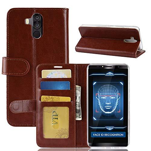 tinyue® Für Oukitel K6 Hülle, Ultradünne PU-Ledertasche Flip Wallet Cover, R64 strukturierte Business Style Ledertasche, Brown