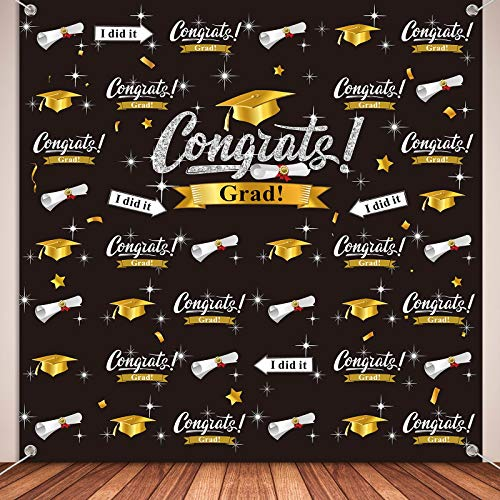 Graduation Party Decorations, Fabric Congratulate Graduation Photography Backdrop 2021 Congratulations Grad Backdrop Graduation Congrats Background Banner for Prom Party, 70.9 x 70.9 Inch (Black)