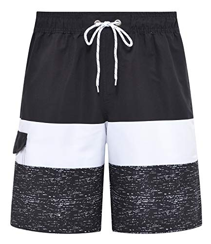 Tyhengta Mens Swim Trunks Beachwear Quick Dry Board Shorts with Mesh Lining Black 30