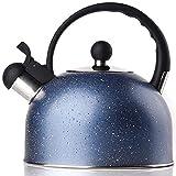 Teiera, Bollitore per tè con Fischietto, Teiera in Acciaio Inossidabile per Piano Cottura, Bollitore per caffè in Pietra A Induzione con Manico Anti-Caldo, Regalo Perfetto Blu