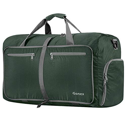 Gonex Leichter Faltbare Reise-Gepäck 60L & 80L & 100L Duffel Taschen Übernachtung Taschen/Sporttasche für Reisen Sport Gym Urlaub, Dunkelgrün, 80L