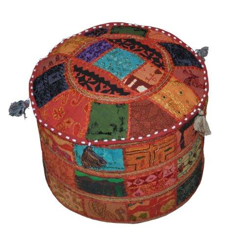 Rajasthali Traditionnel Indien de l'Intérieur décoratif Ottoman Main et Patchwork Repose-Pieds Coussin de Sol, 46 X 33 cm