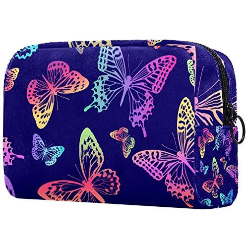 Trousse de maquillage portable avec motif papillons arc-en-ciel