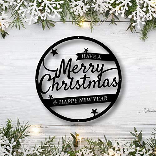 DKISEE YMD7635 - Señal de Navidad, regalo de Navidad, regalo de Navidad, señal de feliz año nuevo, decoración de Navidad, Estados Unidos, arte de pared de metal, 24 pulgadas, oro rosa