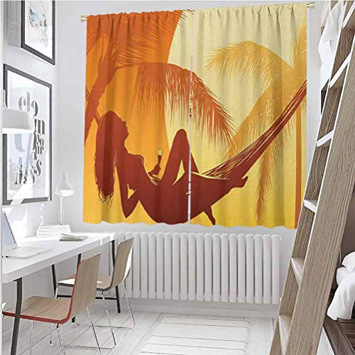 Holiday For bedroom blackout curtains Silhouette of Sexy Woman Lying in a Hammock at Majestic Sunset View Dream Print Blackout curtains for the living room W52 x L72 Inch Burnt Orange