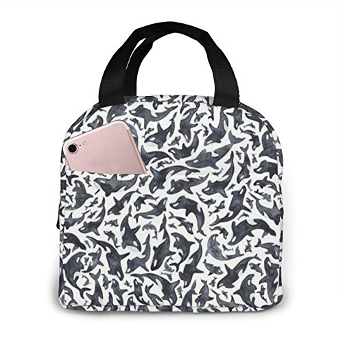 tianls Orca Killer Whale Pattern Lunch Bag Tote Bag Lunch Bag for Women/Men Lunch Box Insulated Lunch Container