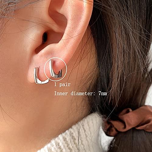 DFDLNL Pendientes de aro Cuadrados Brillantes geométricos para Mujer Pendientes 7 mm Plata