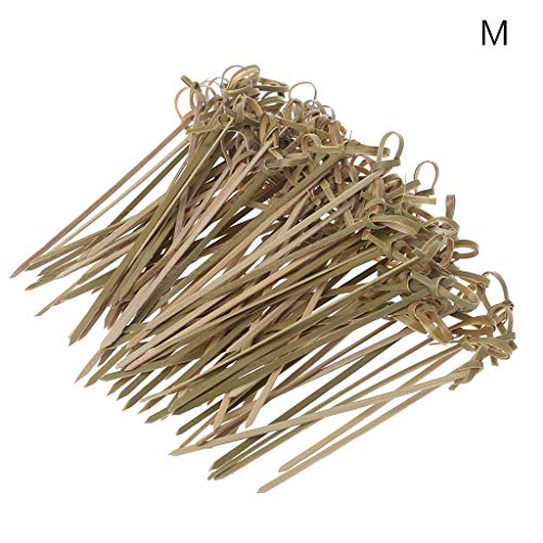niumanery 100Pcs Disposable Bamboo Tie Knotted Skewers Twisted Ends Cocktail Food Fruit Picks Fork Sticks Buffet Cupcake Toppers Wedding Party Decoration