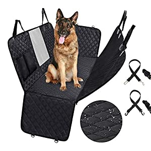 VECELA Dog Car Seat Cover, 100% Waterproof Dog Back Seat Cover Protector with Mesh Window & 2 Seat Belts,Durable Pet Seat Covers for Cars & SUVs Against Dirt and Pet Fur (Black)