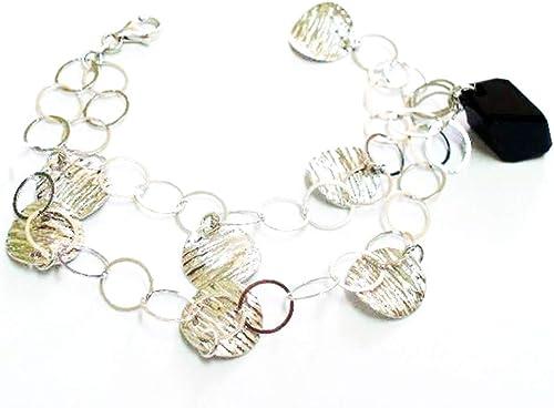 Armband in rhodiniertem Silber Stein Schwarz