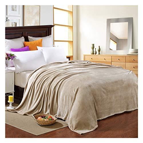 MTXD winterdeken, wollen deken van flanel, bruin, super zacht, warme sprei voor banken van microvezel, 12,5 cm
