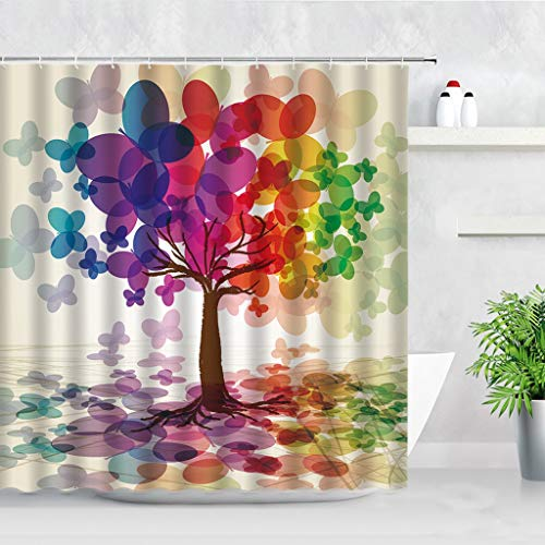 AMISADMGMA Shower curtainColorful Art Printing Four Seasons Shower Curtain Set Water Color Style Tree Waterproof Home Decor Bathroom Curtains With Hooks