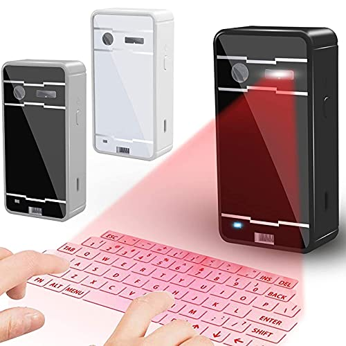 IYUNDUN Teclado Láser Virtual Portátil, Teclado Inalámbrico Bluetooth Proyectado con Proyección Láser para Oficina, Estudio, Ocio, Entretenimiento, Cafetería, Aula (Color : Silver)