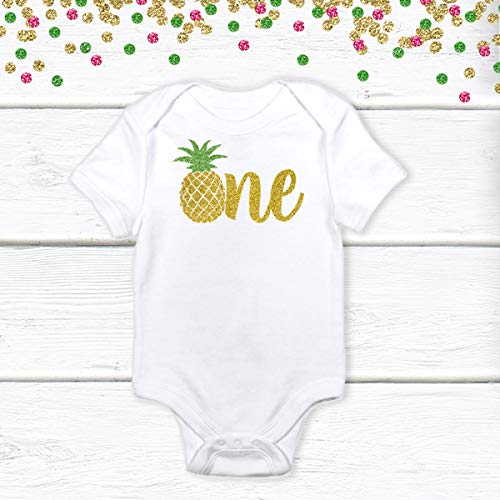 1 pc one pineapple green gold glitter 100% COTTON short sleeve babysuit bodysuit for first birthday boy girl cake smash outfit luau tropical