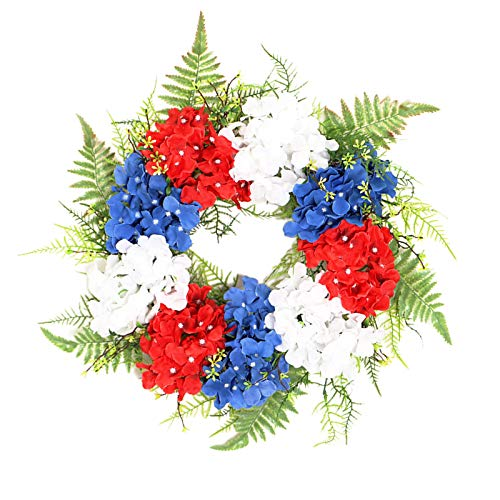 MagiDeal 17.7Inch Memorial Wreath 4th of July Independence Day Red Blue White Flowers for American Patriotic Decorations Indoor & Outdoor Spring Wreaths
