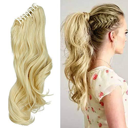 Clip in Extensions Pferdeschwanz Haarteil Gewellt Ponytail Extensions Haarverlängerung 18