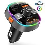 Transmetteur FM Bluetooth 5.0 Adaptateur Radio sans Fil Kit de Voiture Mains Libres, QC3.0 et 5V/2.4A Chargeur Rapid Voiture 2 Ports USB 7 Lumière Colorées Support Carte TF/Clé USB Siri