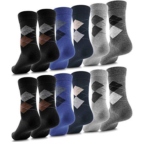 Fullluwaa Calcetines para Hombre y Mujer, 10/12 pares, Color Negro Algodón Cintura Larga Cómoda,39-42