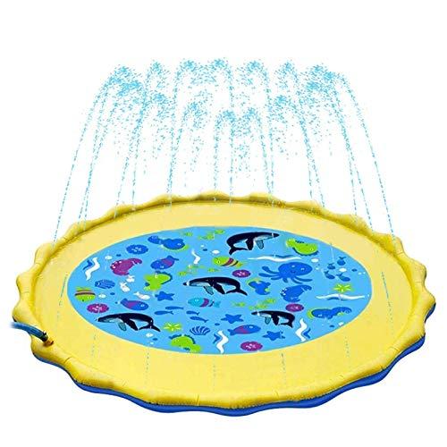 Tappetino Gioco d'Acqua per Bambini Sendowtek, 170 cm Splash Play Mat per Piscina con Spruzzi Giochi Acquatici da Giardino per Schizzi d'Acqua Tappetino Outdoor