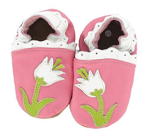 HOBEA-Germany Chaussures bébé Fille, Chaussures de Taille:16/17 (0-6 Monate), modèle Chaussures:Fleur Rose
