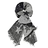 heekpek Serata sciarpa glitter delle donne avvolgere Ha rubato Scialle Per il matrimonio parti Sciarpa stella a cinque punte Foulard con frangia (nero)