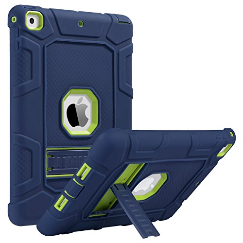 ULAK iPad 5th 6th Generation Case, iPad 9.7 inch Cases,Three Layers Heavy Duty Sturdy Shockproof Protective Stand Case Kickstand Soft Silicone Cover for Kids Apple iPad 9.7 2017/2018, Navy Blue/Green