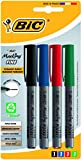 BIC Marking Fine ECOlutions Marqueurs Permanents à Pointe Conique Fine - Couleurs Assorties, Blister de 4