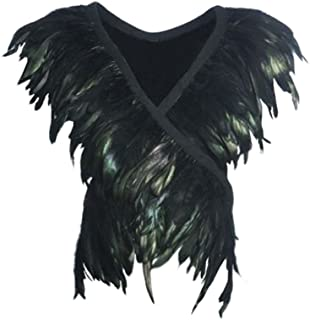 Black Feather Shrug Cape Shoulder Wrap Lace Collar Halloween Costumes for Women