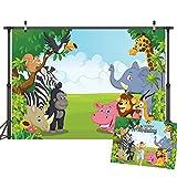 LYWYGG 7x5FT Antecedentes del zoológico Fotografía Safari de Dibujos Animados Fondo de Animales Feliz Cumpleaños Fotografía Antecedentes Fauna Jungla Vida Silvestre Zoológico del Foto CP-4