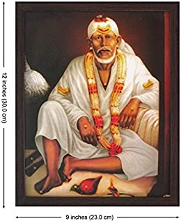 Lord Sai Baba Sitting on Bed and Wearing White Clothes and Garland, Picture with Frame, A Poster Print for Home/Offices and Gift Purpose