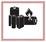 'Caution - Lithium Battery Handling' Labels/Stickers, 4 5/8' x 5', Black/White/Red, 500 Labels Per Roll (1 Roll)