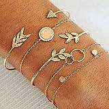 5pcs / set Bohême Flèche Feuille Cristal Or Couleur Charme Manchette Bracelets Ensemble pour les Femmes Ouverture En Métal Bijoux Creux