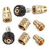 """OTNE 8 adattatori per idropulitrice, tubo da giardino, attacco rapido M22 girevole a 3/8"""" Quick Connect, 3/4"""" a sgancio rapido"""