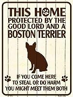 Smart Blonde ビンテージ風 英語版 おしゃれな 猛犬注意の看板 プレート 犬がいます 屋外OK 錆びないアルミ製 (ラージ(30.5x46cm), ボストンテリア)