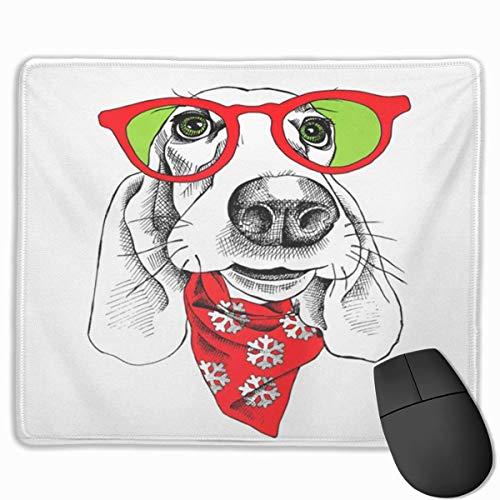 Niedliches Gaming-Mauspad, Schreibtisch-Mauspad, kleines Mauspad für Laptop-Computer, Mausmattenbrille Hundebarschhund-Porträt in Sonnenbrille und Krawattenkopf-Haustierschal Schnee