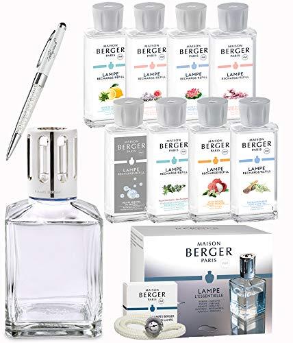 Lampe Berger Neuheiten 2019 - Limited Edition XXL Starterset eckig inkl. Brenner/Docht und 8 Nachfüllflaschen Parfum de Maison mit Duft Neutral + Kugelschreiber mit Swarovski Elements