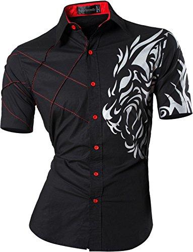 Sportrendy Herren Freizeit Hemden Slim Button Down Short Sleeves Dress Shirts Tops JZS060 Black L