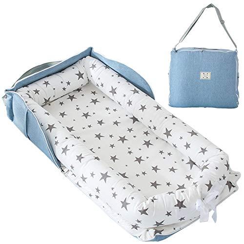 TEALP Tumbona para bebé con Almohadas, Nido Transpirable para Bebé Recién Nacido para Cosleeping, Capazo de Bebé, Estrella Gris