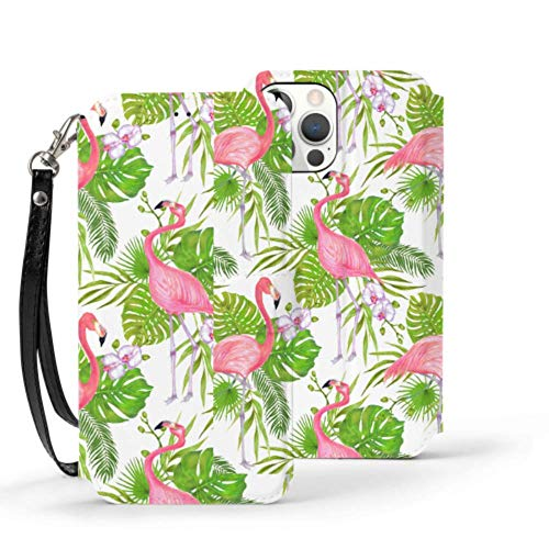 Iphone12 Pro Wallet Case 6.1 Inch Marker Pink Flamingo Bird Iphone12 Pro Case Wallet Case Stitch Cute Magnetic Closure Folio Flip Cover With Stand Feature Card Holder And Wrist Strap Protective Case