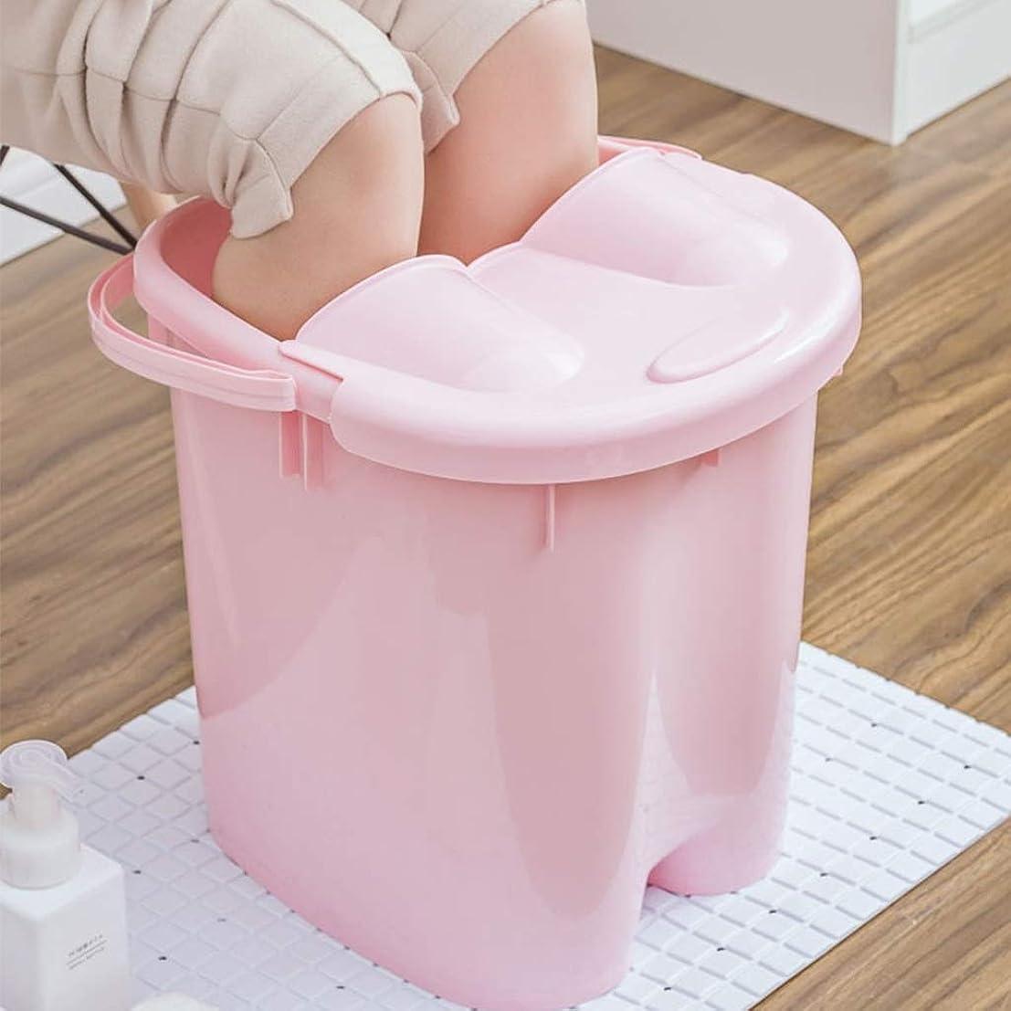 ペッカディロ粘り強いブロンズフットバスバレル- ?AMTシンプルな和風マッサージ浴槽ポータブル足湯バケツプラスチック付きふた保温足浴槽 Relax foot (色 : Pink, サイズ さいず : 39cm high)