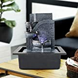valentinyii 3-Tier Pots Tabletop Water Fountain with LED Lights - 10 Inches High Indoor Soothing & Relaxation Modern Design Waterfall Fountain for Home & Office Decor (Dark Grey, 10 inch)