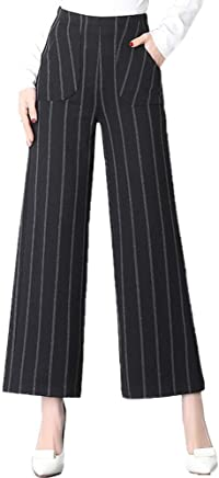 7624d1dd5090f AUSZOSLT Women s Striped High Waisted Lounge Wide Leg Palazzo Pants Capris
